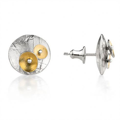 in klöver Art Gallery - Jill Graham Jewellery - Sterling Silver & Gold Bloom Stud Earrings